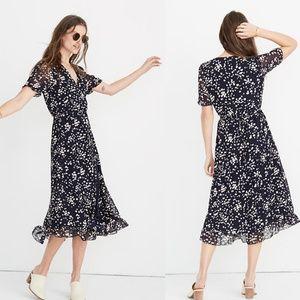 Madewell Ruffle-Edge Wrap Dress Drifting Petals S